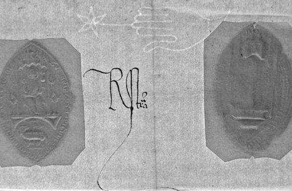 Detalle de la monitoria - sellos de cera y filigrana del papel
