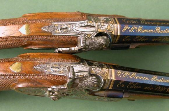 Pequeña pareja de pistolas de pistón del armero Ramón Bustindui fechada en 1847